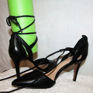 """Vince Camuto Leather Pointed Toe Lace Up 3"""" Heels"""